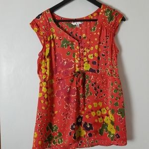 Cabi Size S Red Floral Shirt